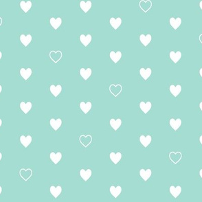 White Hearts on Mint – Love Heart Valentines Day