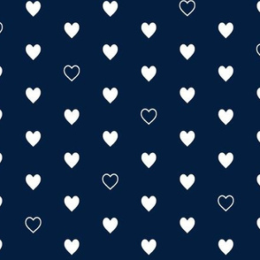 White Hearts on Navy – Love Heart Valentines Day