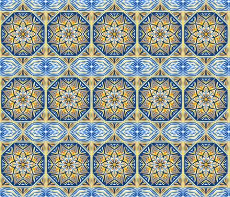 Golden Evening Stars Border Tiles fabric by rhondadesigns on Spoonflower - custom fabric