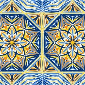 Golden Evening Stars Border Tiles