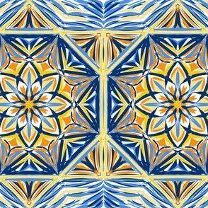 Golden Evening Stars Border Tiles