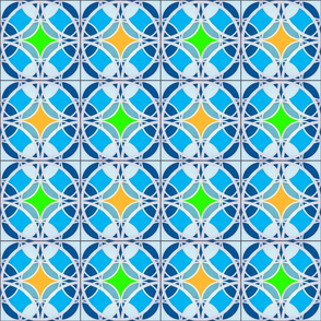 blue tiles with orange and green