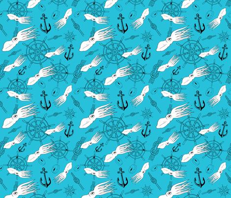 Light Blue Squid  fabric by moon_hart on Spoonflower - custom fabric