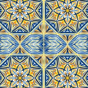 Golden Sunset Stars Border Tiles - Medium Scale