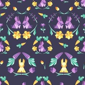 Origami Bunny geometric on dark violet