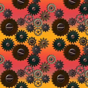 Steampunk Gears on Ombre Salmon-Pink Orange Striped Background