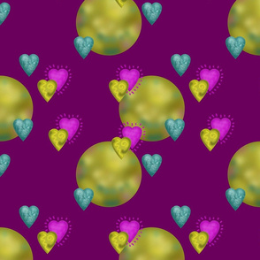 Cute Hearts and Green Planets on Purple