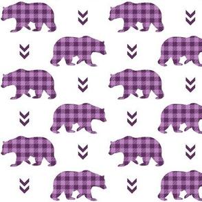 Bears  – Plum + Wisteria Plaid Bear Buffalo Plaid Check Woodland Baby Girl Nursery Bedding