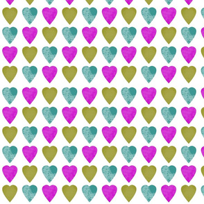 Lilac Purple Turquoise Blue Chartreuse Green Hearts