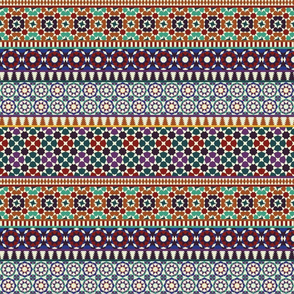 Alhambra Tessellations - Red, orange and blue on white