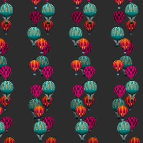 Hot Air Balloon Stripes on Charcoal Gray
