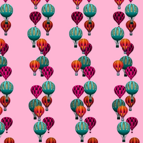 Hot Air Balloon Stripes on Pink
