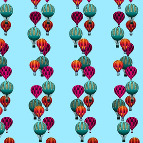 Hot Air Balloon Stripes on Sky Blue