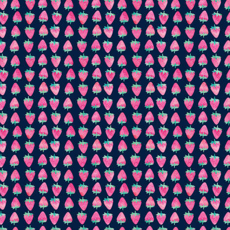 (extra small) strawberries - watercolor pink on navy fabric by littlearrowdesign on Spoonflower - custom fabric