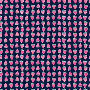 (extra small) strawberries - watercolor pink on navy
