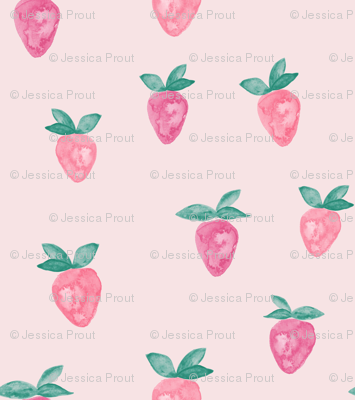 (micro print) watercolor strawberries || pink