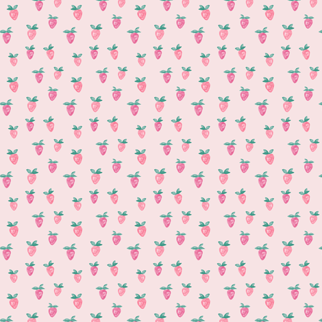 (micro print) watercolor strawberries || pink fabric by littlearrowdesign on Spoonflower - custom fabric