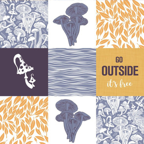 Go outside wholecloth quilt top // grey mushrooms
