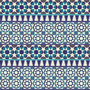 Islamic borders - Turquoise, blue and grey on white