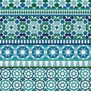 Alhambra Tessellations - Turquoise, blue and green on white