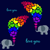 Elephant Love-navy bg