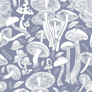 Delicious Autumn botanical poison // small scale rotated // pale blue grey background white mushrooms