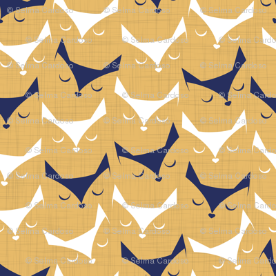 Cat alert // mustard linen texture background