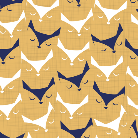 Cat alert // mustard linen texture background fabric by selmacardoso on Spoonflower - custom fabric