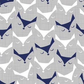 Cat alert // grey linen texture background