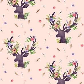 Purple Deer w/ Floral Antlers (warm pink) - Purple Flowers Feathers Baby Girl Nursery Crib Sheets Bedding B
