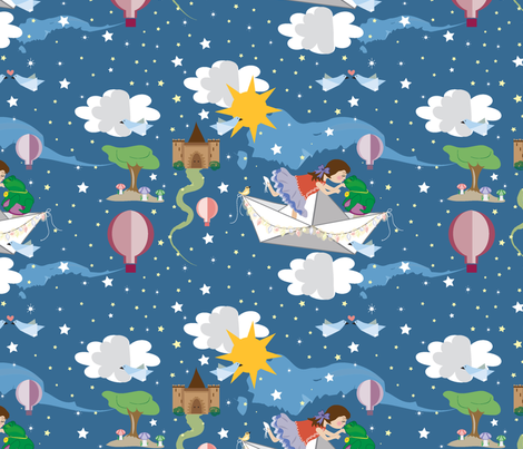 Paper Dreams, Origami birds, Hot Air Balloons, Paper Boat, Dreaming, Japanese Art fabric by applebutterpattycake on Spoonflower - custom fabric