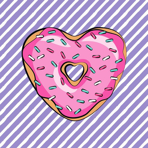 """18"""" square - heart shaped donut lovey blanket panel  - pink and purple"""