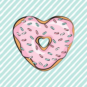 "18"" square - heart shaped donut lovey blanket panel  - pink and dark mint"