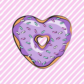 "18"" square - heart shaped donut lovey blanket panel  - purple and pink"