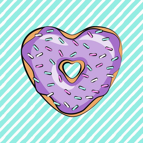 "18"" square - heart shaped donut lovey blanket panel  - purple and teal"