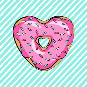 """18"""" square - heart shaped donut lovey blanket panel  - pink and teal"""