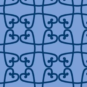 Spanish tile loop blue on blue
