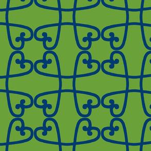 Spanish tile loop blue on green
