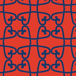 Spanish tile loop blue on red