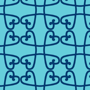 Spanish tile loop blue on turquoise