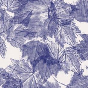 Fall Leaves  - Indigo White