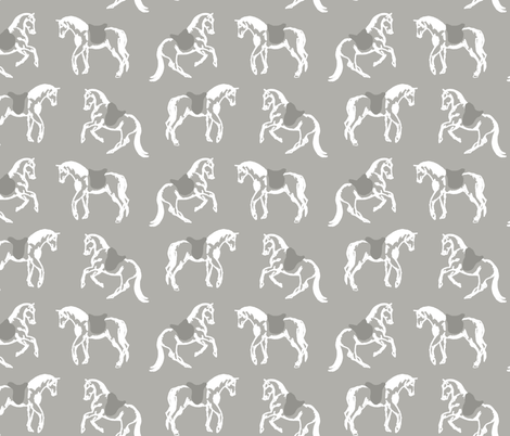 Dancing Horses, Grey Stone fabric by cooper+craft on Spoonflower - custom fabric