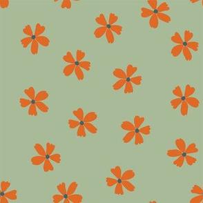 Ditzy Orange Floral on Avocado