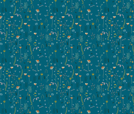 Wildflowers in the Air Teal fabric by inezjestine on Spoonflower - custom fabric
