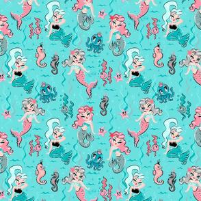 Babydoll Mermaids on Blue - LARGE