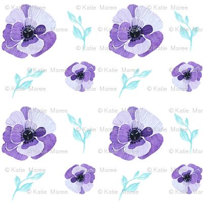 Purple Aqua Floral