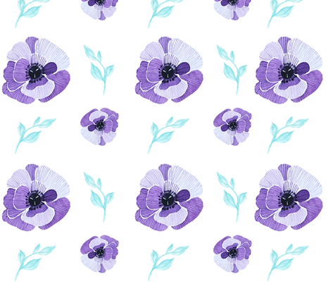 Purple Aqua Floral fabric by snugglyjacks on Spoonflower - custom fabric