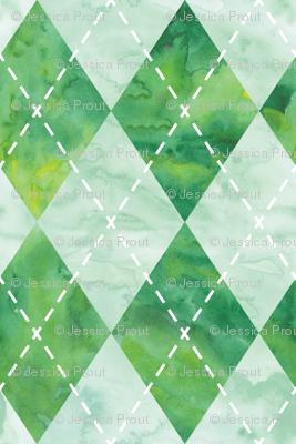 Argyle watercolor - green
