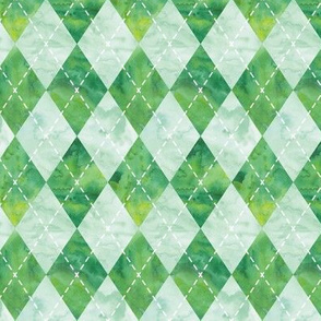 Argyle watercolor - green