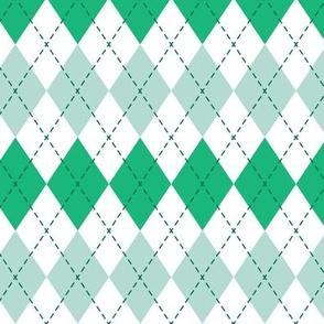 Argyle - dark mint and green